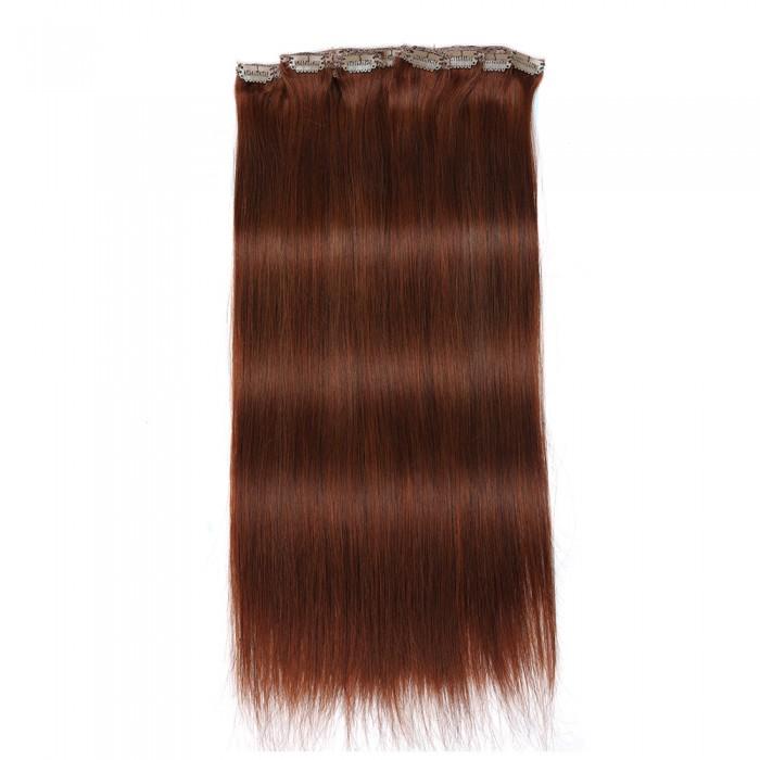 Kriyya 160g Human Hair Clip Ins Cinnamon Red Hair 20-22 Inch Hair Extensions Remy Hair
