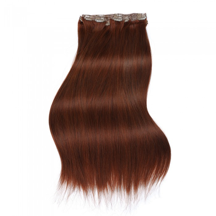 Kriyya 120g Clip In Extensions Cinnamon Red Hair Color Remy Hair Extensions