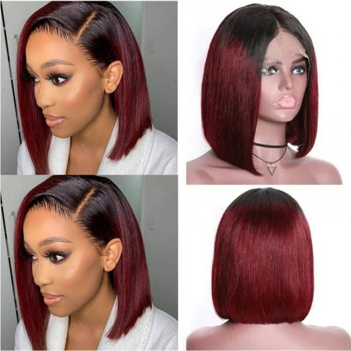 Kriyya Ombre 99J 13x4 Bob Wig Burgundy Lace Front Wig Straight Human Hair Wigs 150% Density