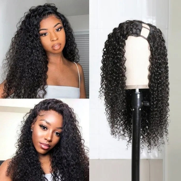 Kriyya Jerry Curly Brazilian U Part Wig Human Hair 2X4 Left Part Natural Black