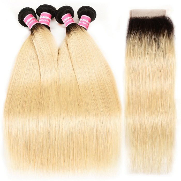 Kriyya Indian Straight Virgin Human Hair T1B/613 Ombre Blonde 4 Bundles With 4x4 Lace Closure
