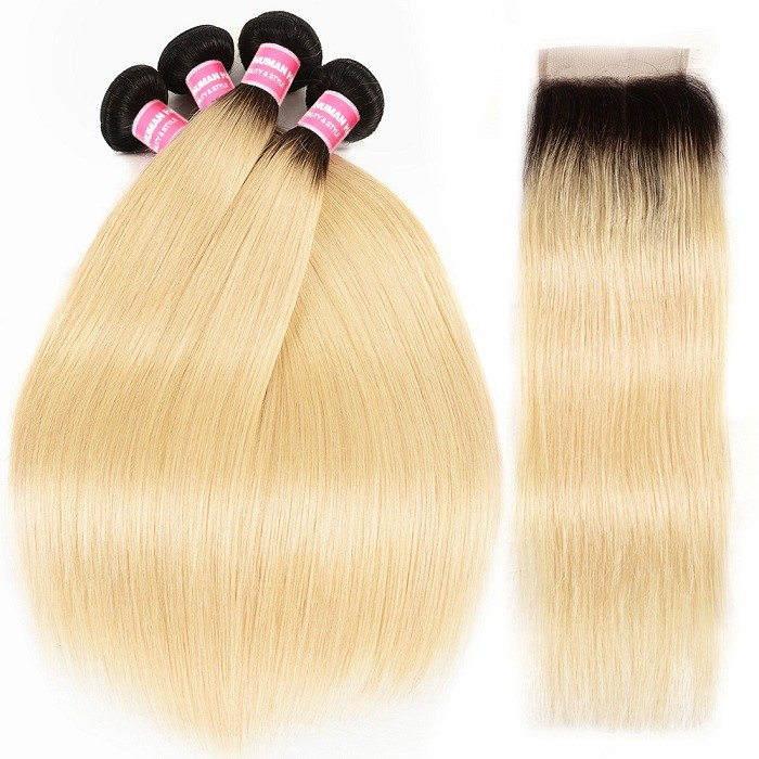 Kriyya Malaysian T1B/613 Color Straight Remy Human Hair 4 Bundles With 4x4 Lace Closure