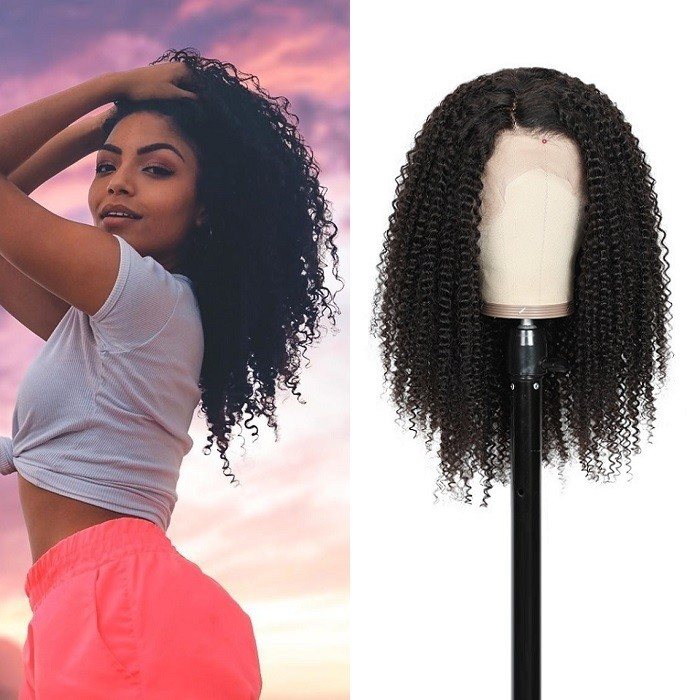 Kriyya Kinky Curly Human Hair Wigs 13x4 Pre-Plucked Lace Frontal Wigs 130% Density Remy Hair