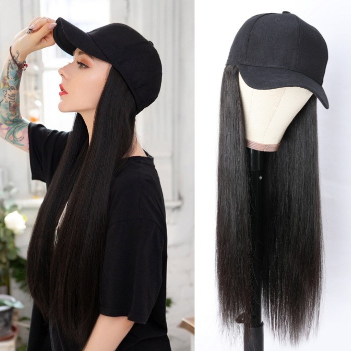 Kriyya Baseball Cap Wig With Hair Extensions Straight Human Hair Wig For Women 20 inch Natural Color