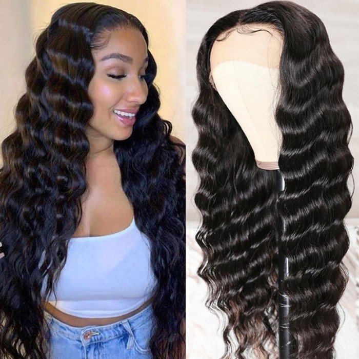 Kriyya Loose Deep Wave Wigs Pre-plucked Lace Front Human Hair Wigs With Baby Hair