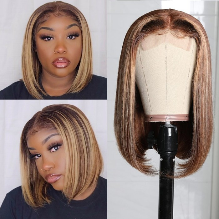Kriyya Summer Vibes Honey Blonde Highlight Bob Wigs Human Hair TL412# Color Middle Part Lace Part Wigs 150% Density