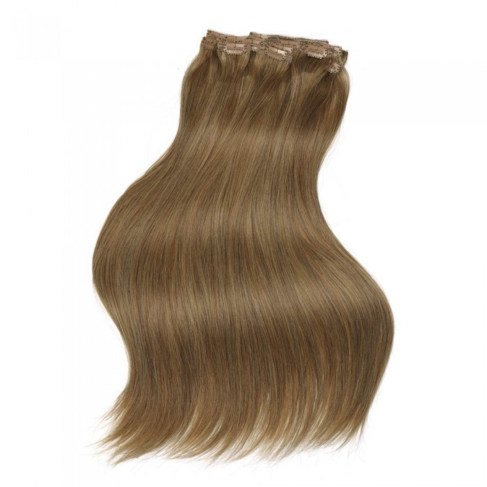 Kriyya 120g Real Hair Extensions Clip In Light Golden Brown Human Hair Extensions
