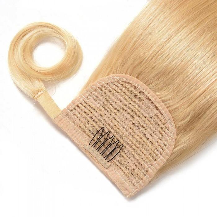 Kriyya 18 Inch Human Hair Ponytail Extension Blonde Hair
