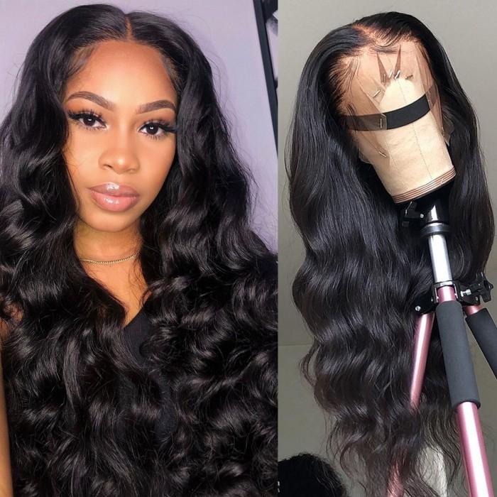 Kriyya Brazilian Body Wave Lace Part Wig 150 Density Virgin Hair Wigs Natural Black