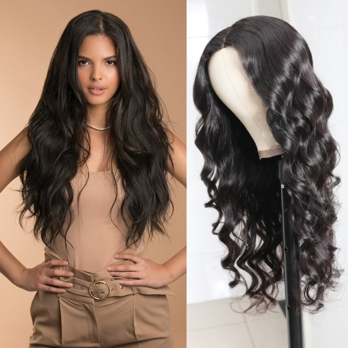 Kriyya Fake Scalp Wigs Body Wave PU Wigs 4.5*1.5 Middle Part Human Hair Wigs