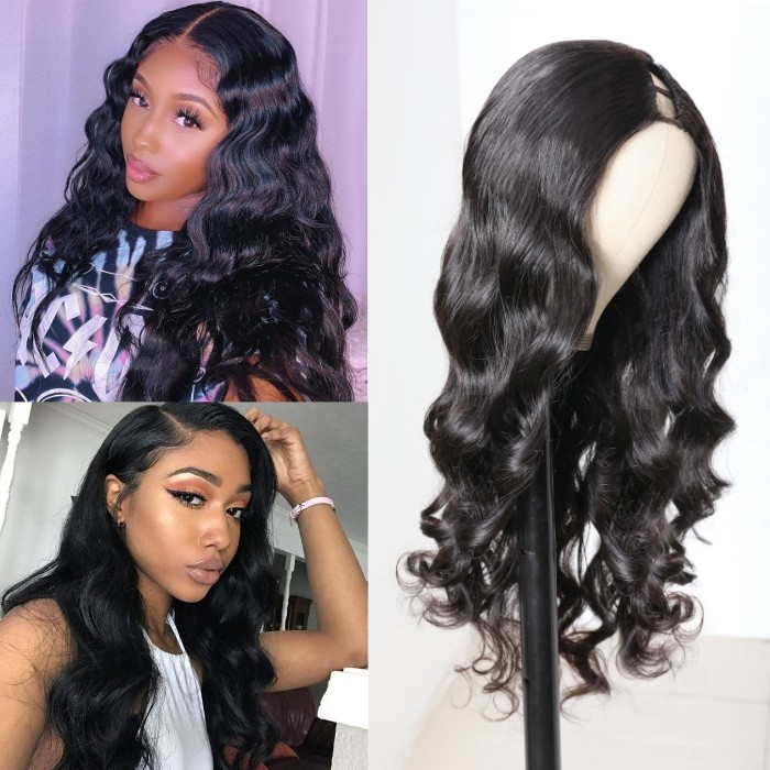 Kriyya Body Wave Middle Part  1x3 U Part Wig 150% Density Glueless Wigs Natural Color