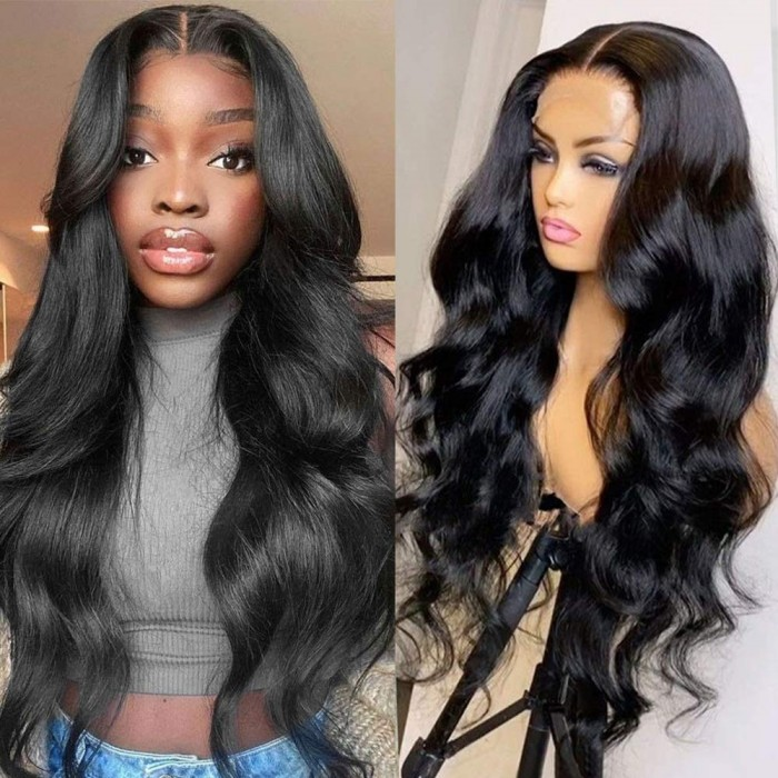 Kriyya Body Wave Middle Part Wigs Body Wave Lace Part Wig 150% Density Natural Color