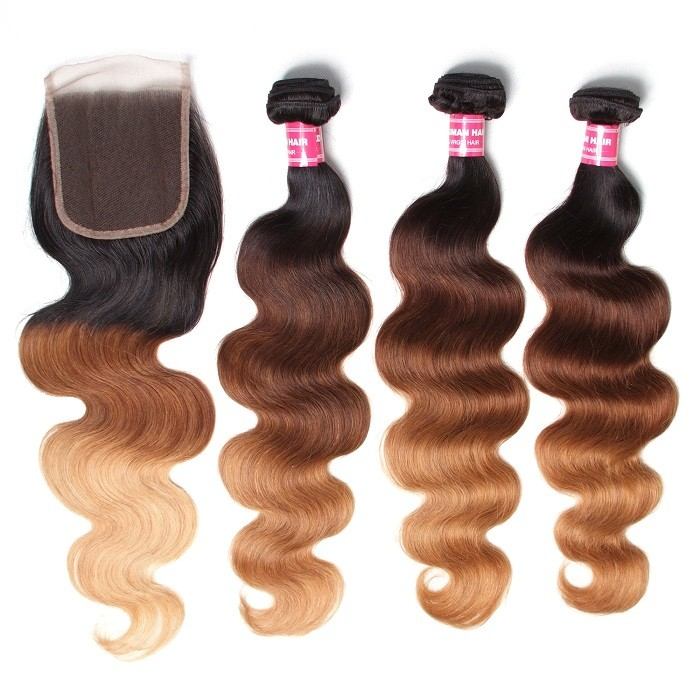 Kriyya Brazilian Body Wave Virgin Hair Three Tone Ombre 3 Bundles With Lace Closure 4x4 Inch