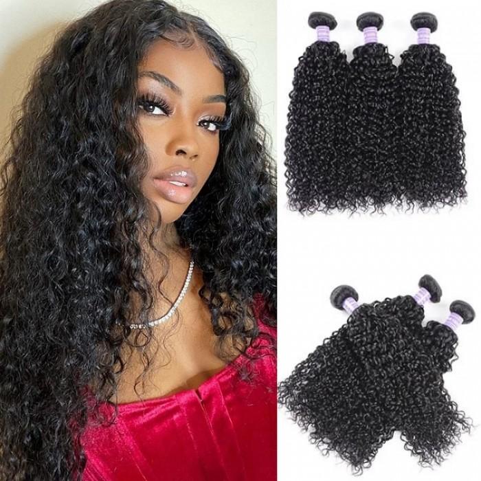 Kriyya Brazilian Jerry Curly Hair 3 Bundles Human Hair Weave 7A Hair