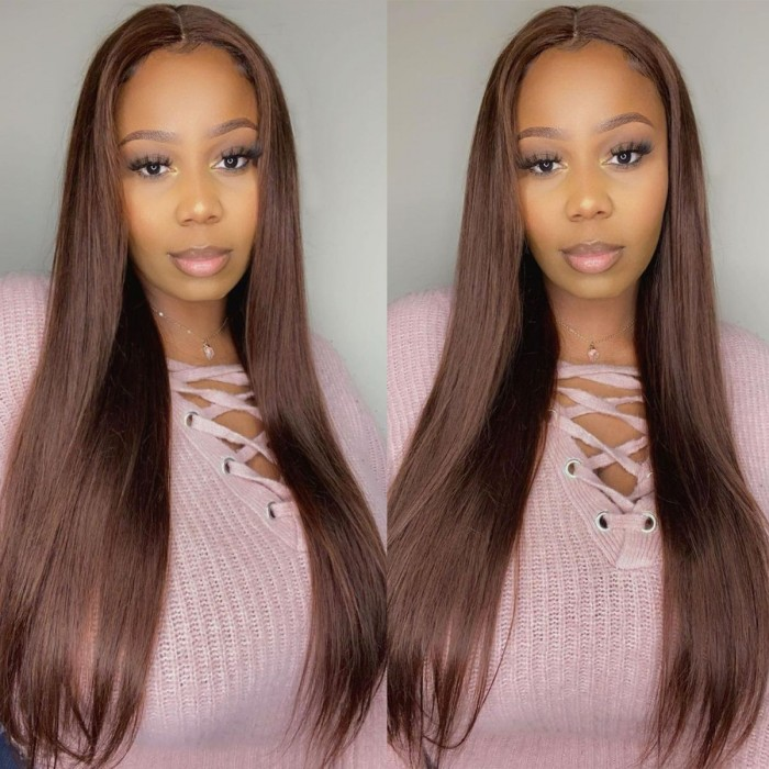 Kriyya Chocolate Brown Lace Wig Straight Middle Part Lace Wig Human Hair Lace Wig 4# 150% Density
