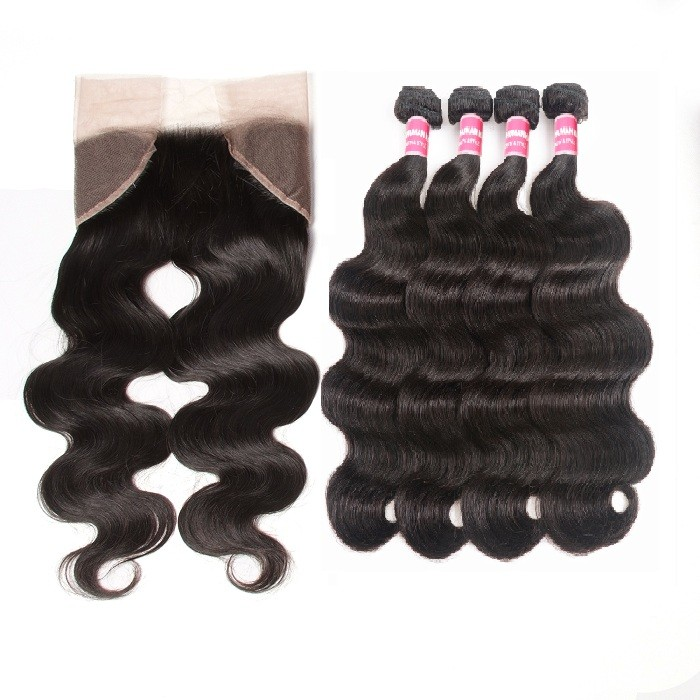 Kriyya Body Wave Human Hair 4 Bundles With 13x4 Lace Frontal Malaysian Hair