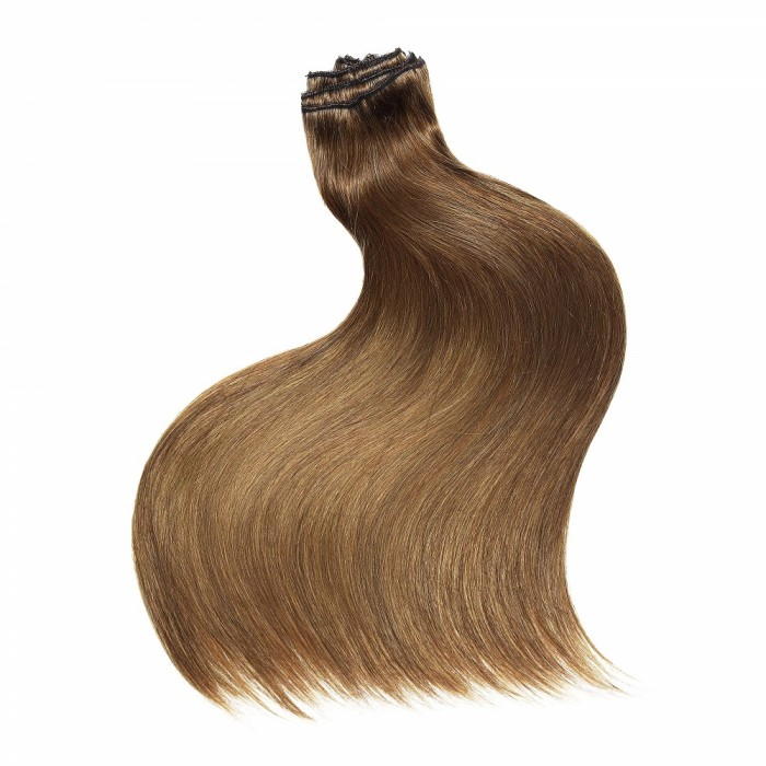 Kriyya Clip In Hair Pieces Chestnut Brown Remy Human Hair Extensions