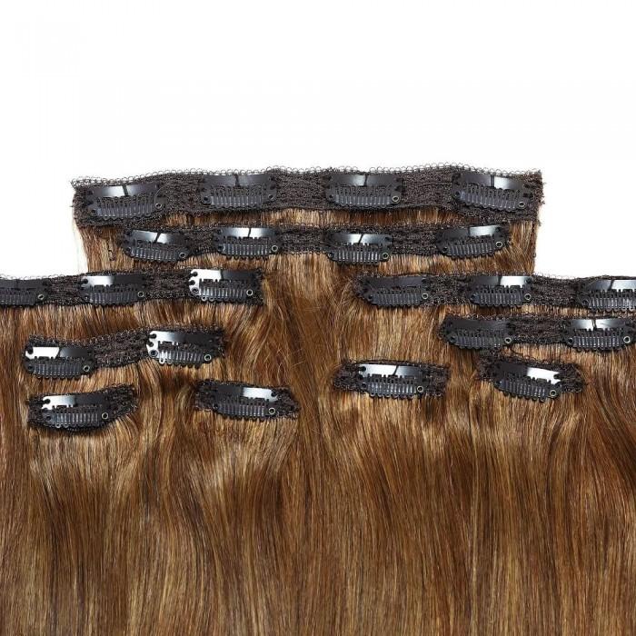 Kriyya Remy Hair Clip In Hair Extensions 22 Inch Chestnut Brown