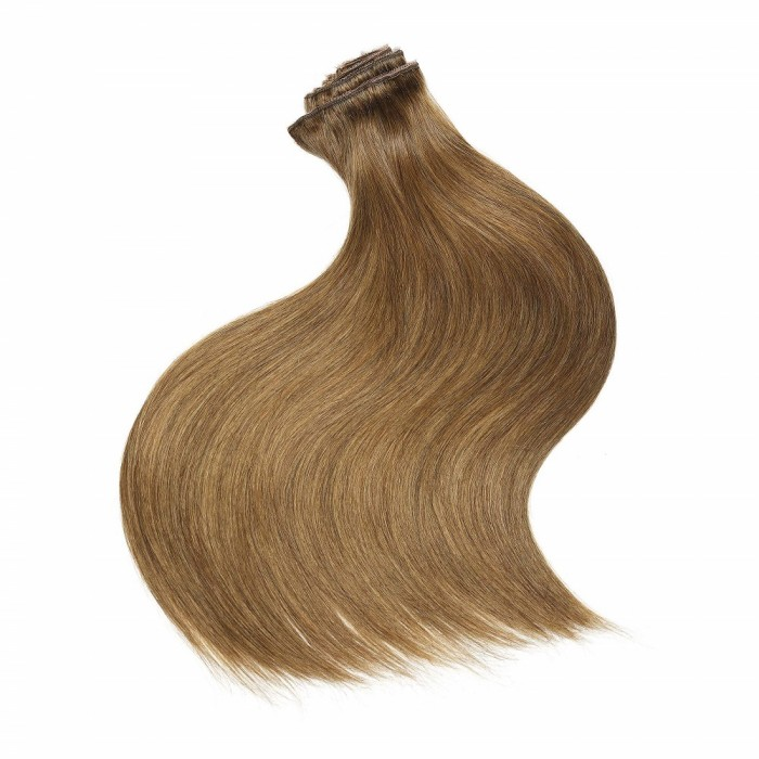 Kriyya Remy Clip Ins Medium Golden Brown Human Hair Extensions Virgin Human Hair