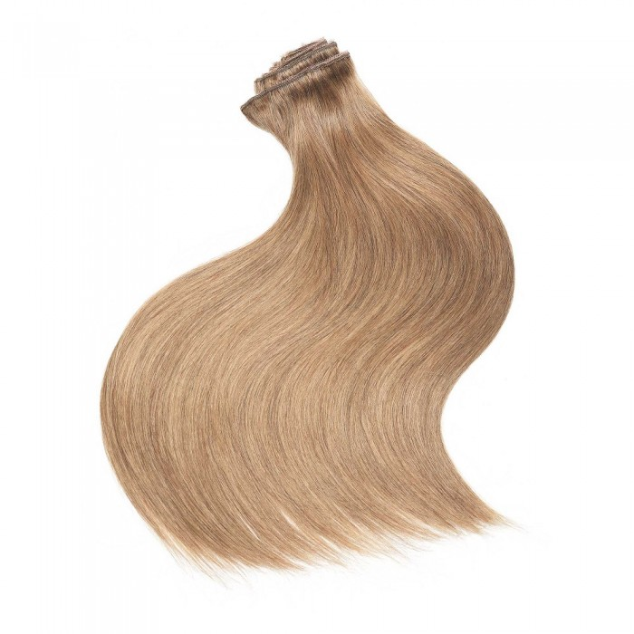 Kriyya 220g Best Clip In Hair Extensions Strawberry Blonde Remy Hair 20-24 Inch Hair Extensions
