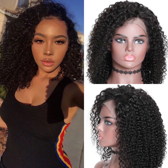 Kriyya 13x4 Transparent Lace Curly Bob Lace Front Wigs 150 Density Wig