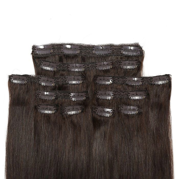 Kriyya 22 Inch Clip In Hair Extensions Human Hair Dark Brown Remy Hair