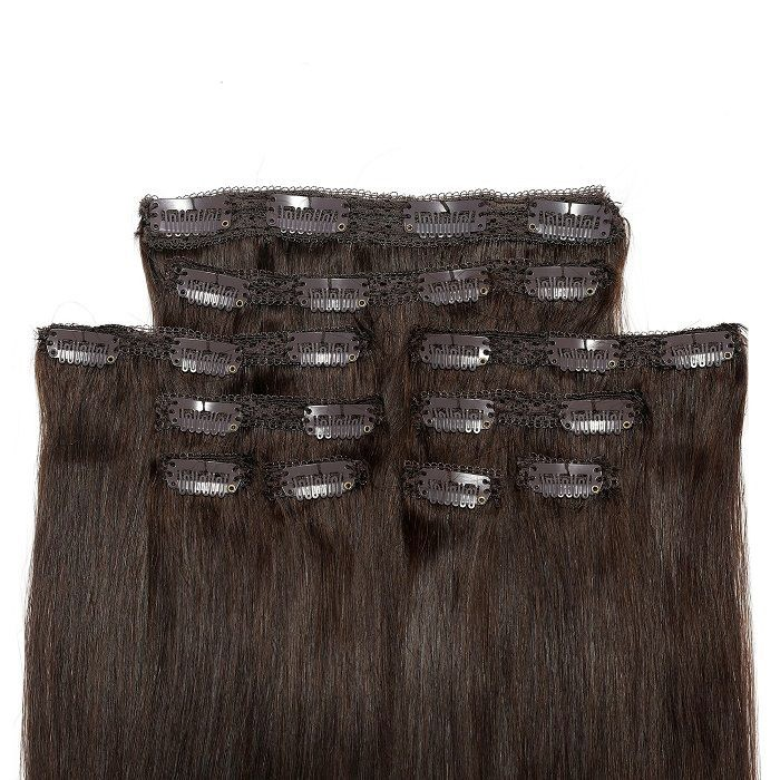 Kriyya 24 Inch Clip In Hair Extensions Dark Brown Remy Hair