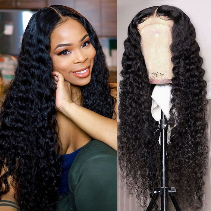 Kriyya New Design 150% Density Deep Wave Wigs Human Hair 13x4 Lace Front Wigs