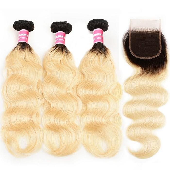 Kriyya 3 Bundles T1B/613 Ombre Peruvian Body Wave Virgin Hair With 4x4 Inch Lace Closure