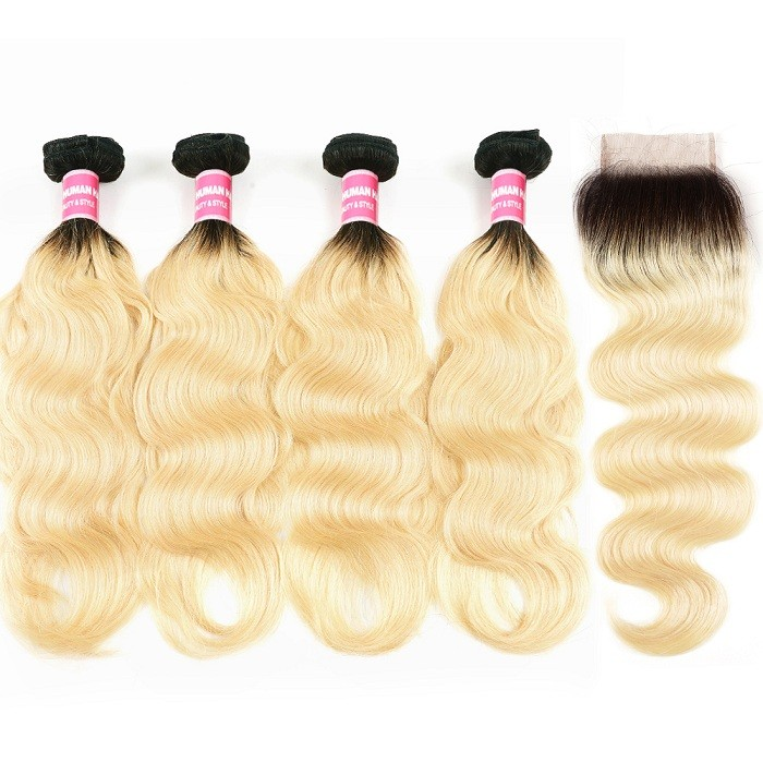 Kriyya Body Wave Remy Human Hair T1B/613 Ombre 4 Bundles With Lace Closure 4x4 Inch Peruvian Hair