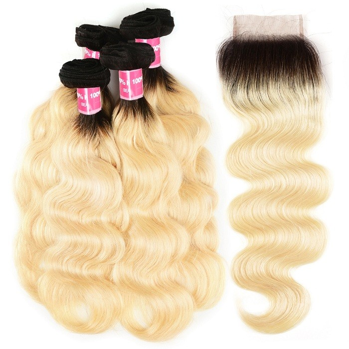 Kriyya Indian Hair T1B/613 Ombre Body Wave 4 Bundles With Lace Closure 4x4 Inch