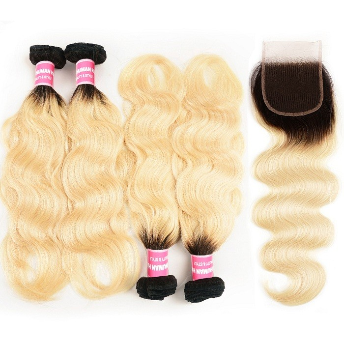 Kriyya Body Wave Remy Human Hair T1B/613 Ombre 4 Bundles With Lace Closure 4x4 Inch Malaysian Hair