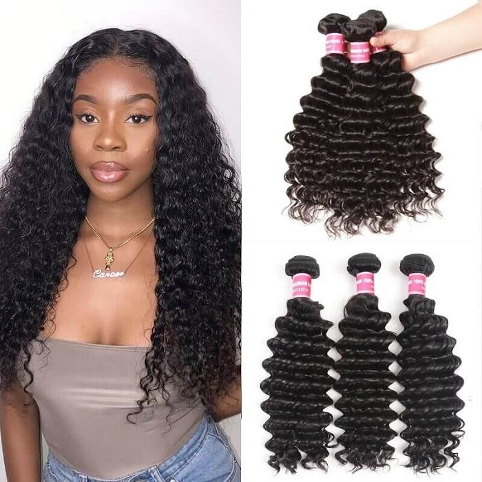 Kriyya Peruvian Deep Wave Hair Closure 4X4 Inch With 3 Bundles Virgin Hair