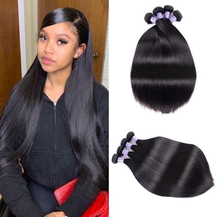 Kriyya Straight Hair Bundles Brazilian Virgin Remy Hair 4 Bundles 7A Hair