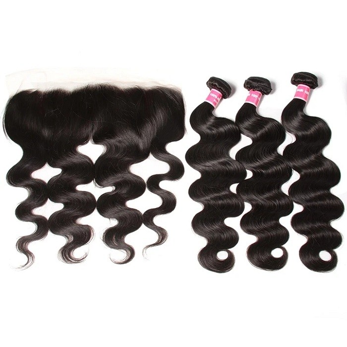 Kriyya Malaysian Body Wave Virgin 100 Human Hair 3 Bundles With Transparent Lace Closure 13*4 Inch