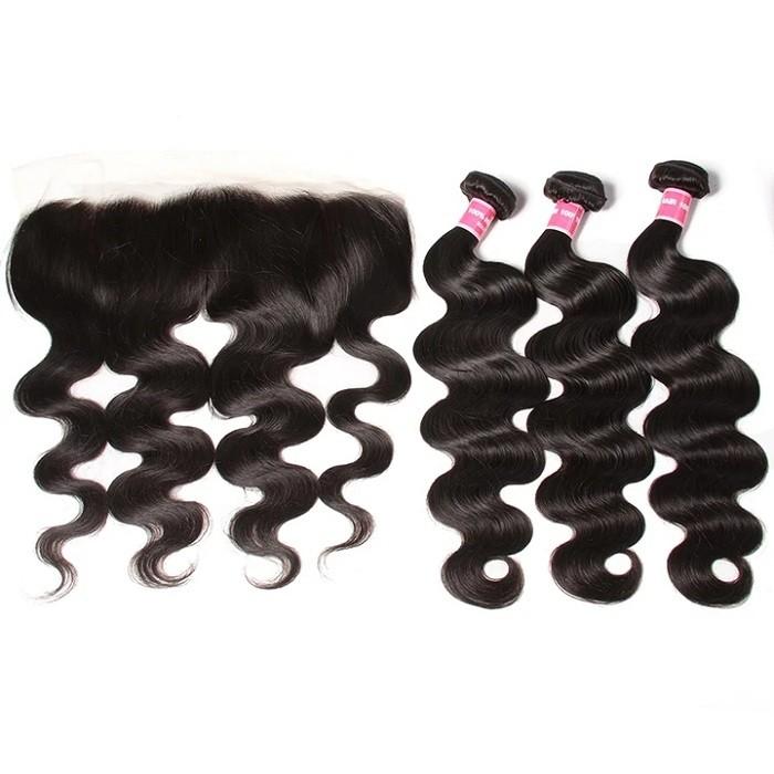 Kriyya Body Wave Unprocessed Human Hair 3 Bundles With Transparent Lace Closure 13*4 Inch Peruvian Hair