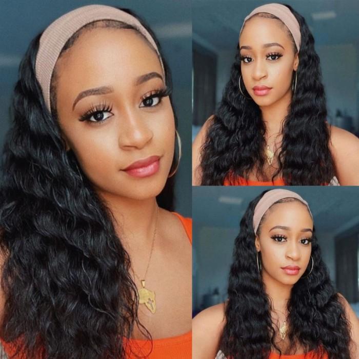 Kriyya Water Wave Headband Wigs 150% Density Glueless Wigs Natural Color 14-26 Inch