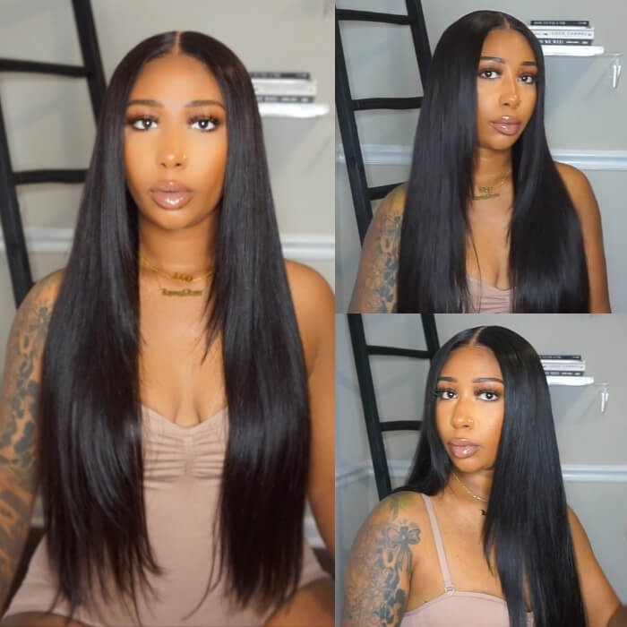 Kriyya HD Transparent Lace Wigs Straight Wigs 5X5 Lace Closure Wig with Baby Hair 180 Density Trendy Kay's Choice