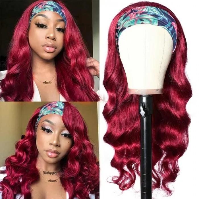 Kriyya Human Hair Headband Wigs Burgundy Wine Red Body Wave Best Brazilian Human Hair Wigs For Women