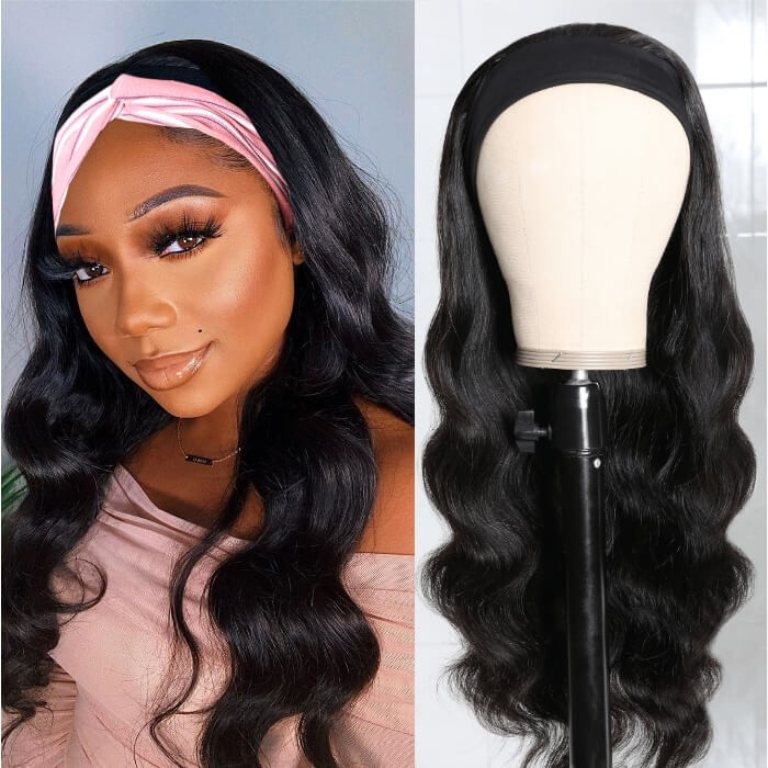 Kriyya Headband Wigs Body Wave Human Hair 150% Density Glueless Wigs