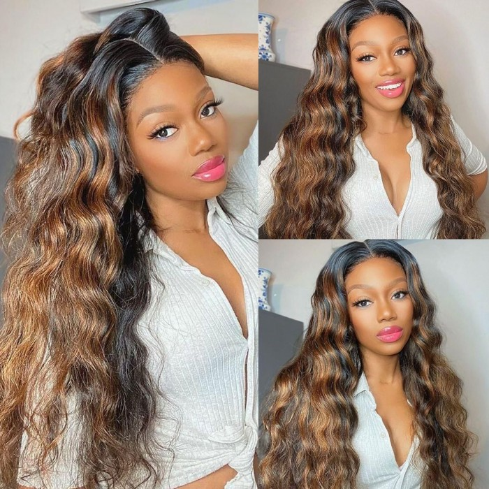 Kriyya 13x4 Lace Front Wigs Balayage #FB30 Body Wave Bronde Highlight Human Hair Wigs 150% Density