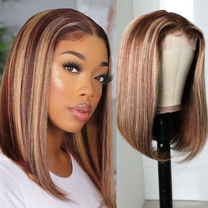 Kriyya 13x4 Highlight Bob Lace Front Wigs With Baby Hair Honey Blonde Ombre Human Hair Wigs With Streaks 150% Density