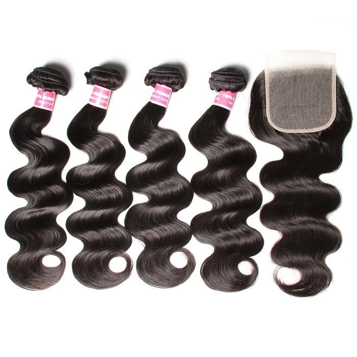 Kriyya Malaysian Body Wave Hair 4 Bundles With 5x5 Free Part Closure