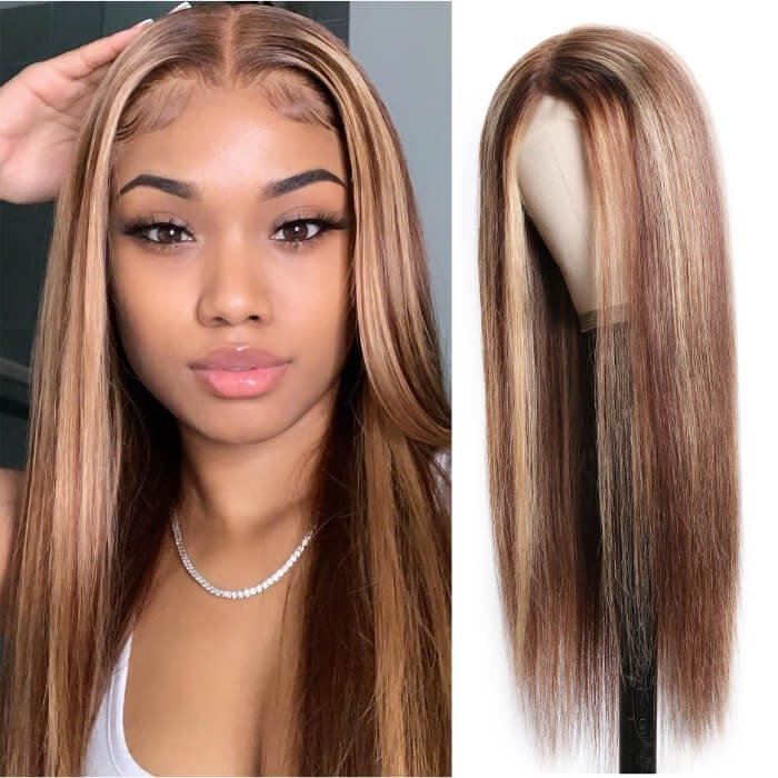 Kriyya Straight Lace Part Wig Honey Blond Highlight Wigs 4 Inch Lace Wig 150% Density