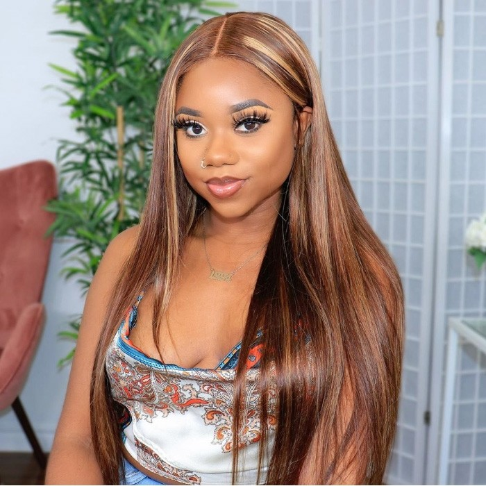 Kriyya Straight Lace Part Wig Honey Blond Highlight Wigs 4