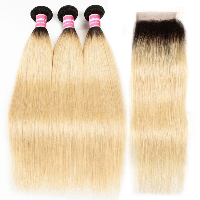 Kriyya Indian Hair 3 Bundles T1B/613 Color Straight Virgin Hair With 4x4 Lace Closure