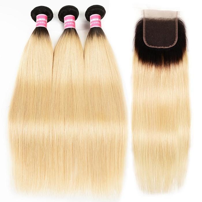 Kriyya Malaysian 3 Pcs T1B/613 Ombre Blonde Straight Virgin Human Hair With 4x4 Lace Closure