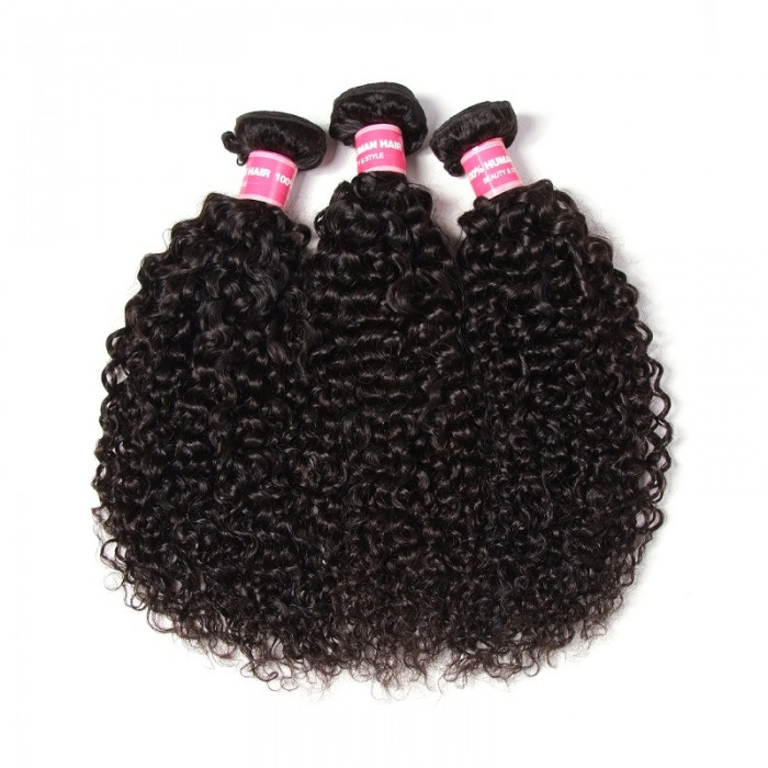 Kriyya Malaysian Virgin Hair Curly Human Hair 3 Bundles