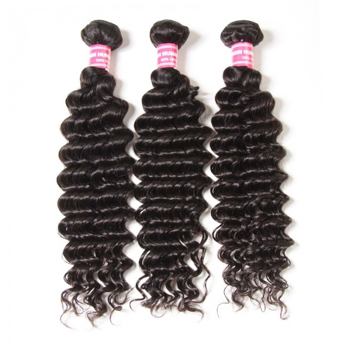 Kriyya Malaysian Deep Wave Hair 3 Bundles Weave Hair 100% 9A Virgin Hair