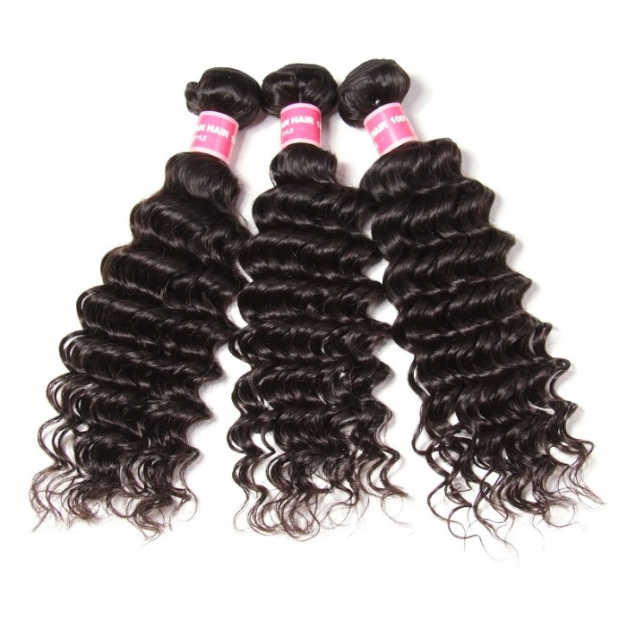 Kriyya Brazilian Deep Wave 3 Bundles Human Hair Weave 9A Virgin Hair